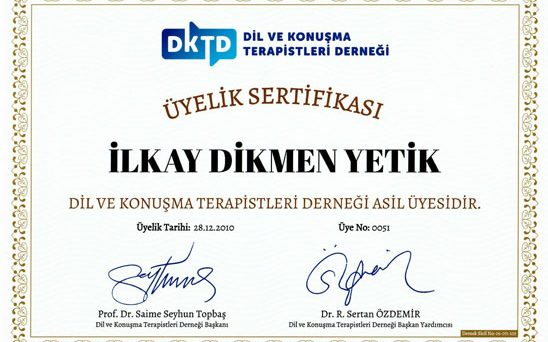 üyelik sertifikası ilkay dikmen yetik