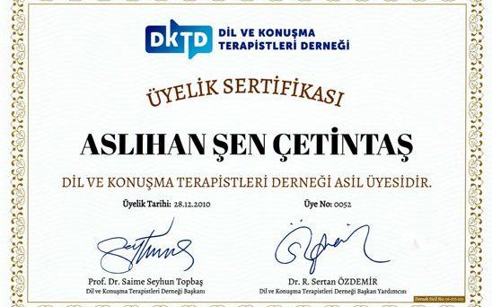 üyelik sertifikası aslıhan şen