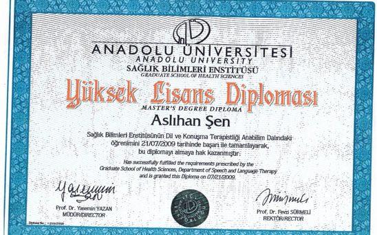 yüksek lisans diploması Aslıhan Şen