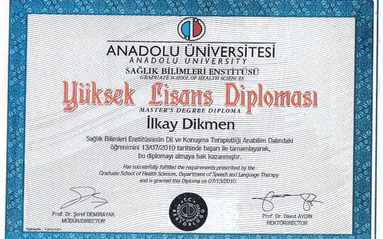 yüksek lisans diploması ilkay dikmen yetik